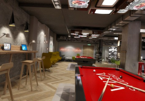 Gaming areas in the communal space